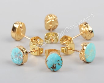 Wholesale Lead Free Gold Plated Freeform Natural Turquoise Stud Earrings Handmade Real Turquoise Post Earrings Gemstone Making Jewelry G1017