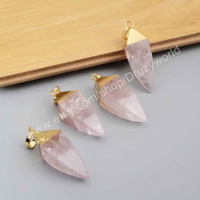 Wholesale Gold Plated Cap Square Faceted Natural Rose Quartz Point Charm Pendant Pink Crystal Pyramid Gemstone Bead Making Jewelry G1007