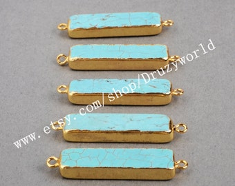 Wholesale Gold Plated Rectangle Howlite Turquoise Connector Double Bails Golden Edge Turquoise Bar Necklace Connector Gemstone Jewelry G0455