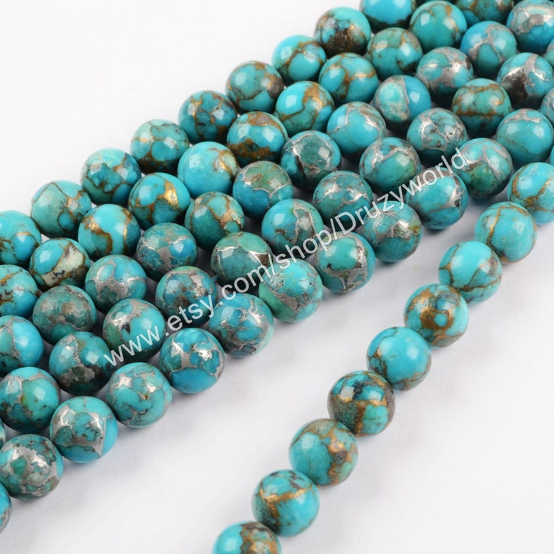 1 Strand Round Gold /& Silver Real Natural Copper Turquoise Ball Loose Beads 8mm Drilled Polish Gemstone Spacer Bead DIY Making Jewelry LS057