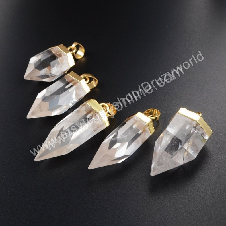 Wholesale Gold Plated Cap Natural White Quartz Point Focal Pendant Natural Crystal  Spike Gemstone Bead Hexagon Faceted Making Jewelry G1009 c0ef3629ca50