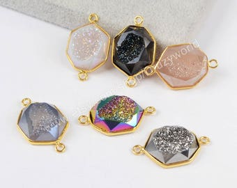 Wholesale Gold Plated Hexagon Natural Titanium Agate Druzy Geode Faceted Connector Double Bails Drusy Gemstone Making Jewelry Charm ZG0179