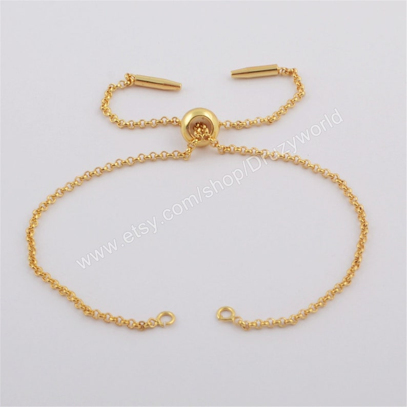 Wholesale Gold Plated 1mm Thin Connector Chain Adjustable Bracelet Finding With slider clasp Open Jump Rings DIY Making Jewelry PJ290