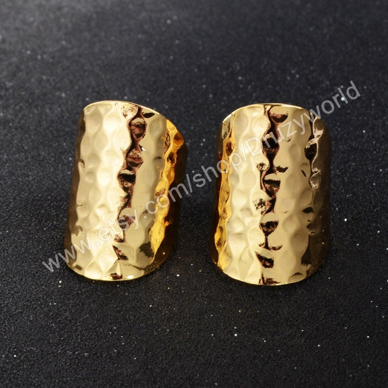 Wholesale Lead /& Nickel Free Silver Rose Gold Plated Brass Ring Cuff Base Blanks Hammered Metal Open Band Rings Making Jewelry Setting PJ029