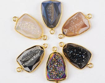 Wholesale Gold Plated Triangle Natural Titanium Agate Druzy Geode Faceted Connector Pendant Two Bails Drusy Gemstone Making Jewelry ZG0173