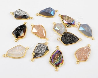 Wholesale Gold Plated Natural Titanium Agate Druzy Geode Faceted Connector Pendant Double Bails Drusy Gemstone Making Jewelry Charm ZG0176