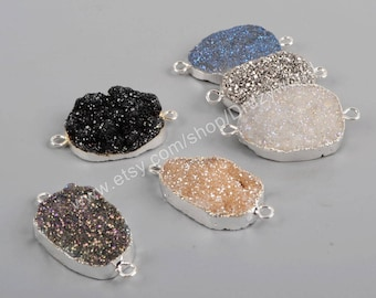 Wholesale Silver Plated Rainbow Natural Titanium Agate Druzy Geode Crystal Connector Pendant Double Bails Handmade Gemstone Jewelry S1312