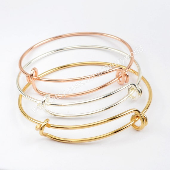 Adjustable Wire Silver Bangle Bracelet Bulk Chain for Jewelry Making 15PCS Expandable Bangle Bracelet Silver, Gold and Rose Gold