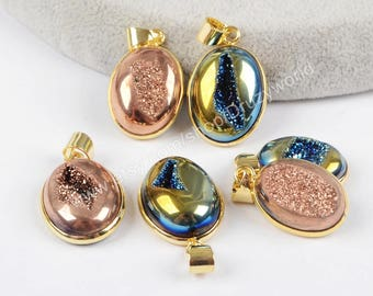 Wholesale Gold Plated Oval Natural Titanium Agate Druzy Geode Pendant Bead Polished Rose Gold Blue Drusy Gemstone Making Jewelry ZG0145