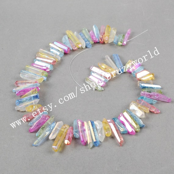 Full Strand Aura Titanium Druzy Beads,Aura Crystal Beads,Jewelry,Necklace,Pendant,Crystal Necklace,Gift for Her,Gemstone Necklace