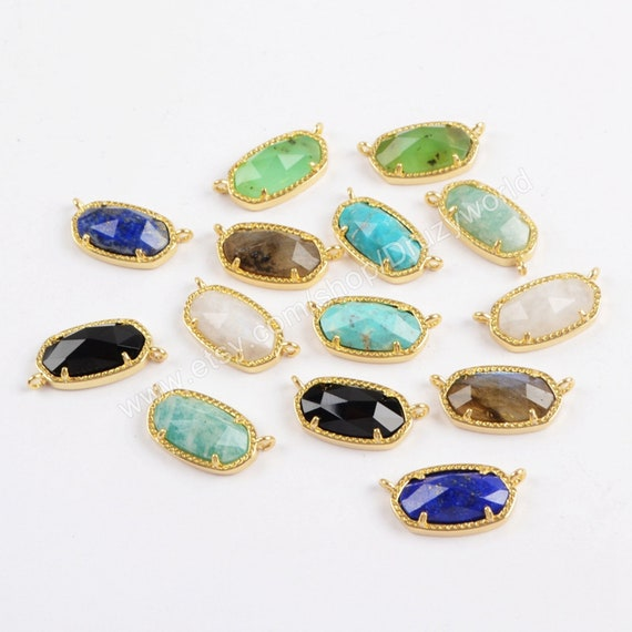 Faceted Natural Agate Druzy /& Turquoise Silver /& Gold Plated Connector Jewelry