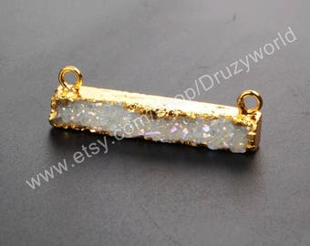 1Pcs Gold Plated Rectangle Opal White Natural Titanium AB Agate Druzy Connector Pendant Bail Loop Geode Crystal Drusy Gemstone Jewelry Charm
