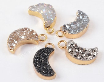 Wholesale Gold Plated Natural Titanium Agate Druzy Geode Crystal Crescent Moon Charm Pendant Drusy Gemstone Bead Jewelry Connector G1175