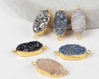 1Pcs Gold Plated Oval Rainbow Natural Titanium Agate Druzy Connector Pendant Sparkle Drusy Gemstone Bead Geode Crystal Jewelry Charm G1285