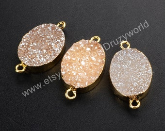 Wholesale Gold Plated Edge Oval Shape Champagne Natural Titanium Agate Druzy Connector Pendant Double Loops Drusy Bead Stone Finding G1073-C