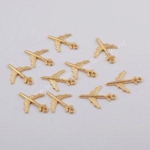4 Pcs 14.5\u00d710mm Sterling Silver Plane Charms 925 Silver Airplane Pendant