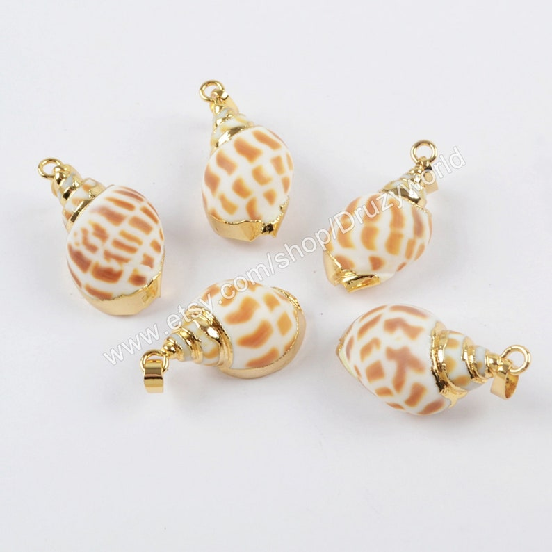Wholesale Unique Gold Plated Natural Sea Shell Pendant Bead Etsy