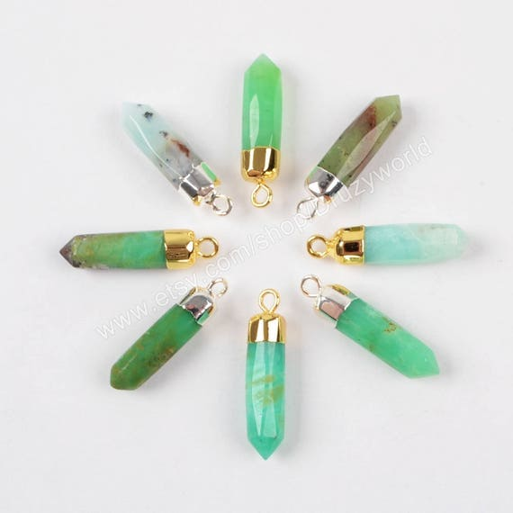 Sale Green Quartz Gemstone Gold Plated Connectors Charms Making Jewelry 3Pcs