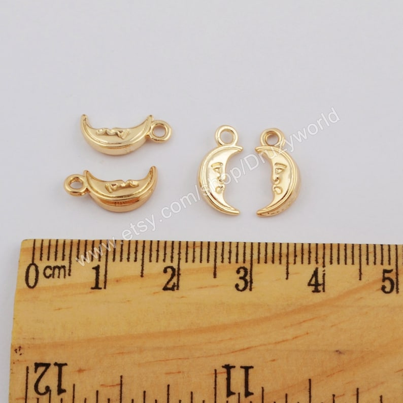 50 Pcs Polished Gold Plated Brass Half Moon Face Metal Charm Findings With Loop Golden Crescent Pendant DIY Making Jewelry Supply Tool PJ345
