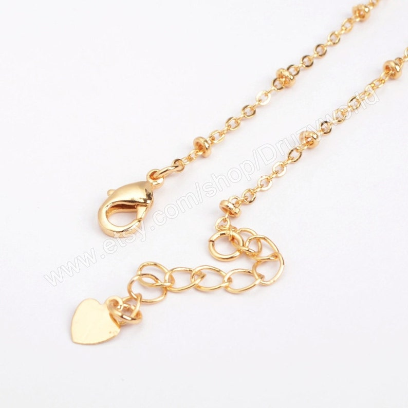 Wholesale Polish Gold Plated Brass Satellite Beads Chain Necklace Finding 16 inch Finished Beaded Chains DIY Making Jewelry Craft Tool PJ016