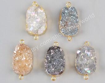 Wholesale Gold Plated Big Rough Natural Titanium Crystal Quartz Druzy Geode Connector Double Bails Raw Gemstone Charm Fashion Jewelry G1036