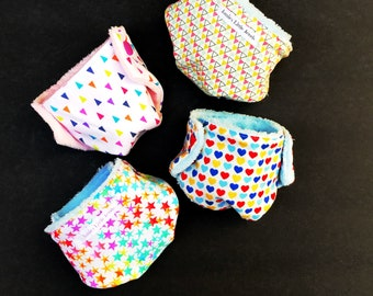 Baby Doll Accessories • Set of 4 Small Diapers • Doll Diaper Set • Diapers for Dollies •  Snap Diapers • Little Mommy • Doll Diaper