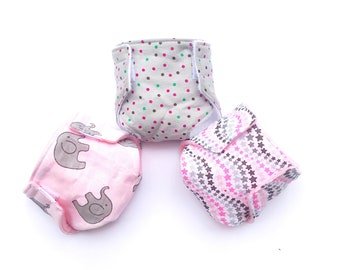 Doll Diaper, Doll Accessories, Baby Doll Diapers, Pretend Play for Little Mommy or Daddy, Pink Elephant Prints, New Sibling Gift