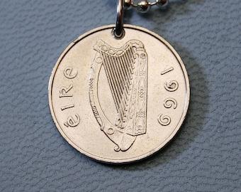VINTAGE CHOICE OF 9 IRELAND IRISH CELTIC HARP COIN PENDANT CHARM NECKLACE