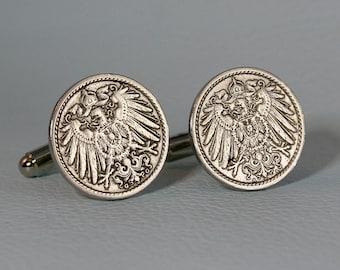 Germany Cufflinks Cuff Links Coins Flag Vintage Style Berlin Frankfurt Dresden Eagle Europe German