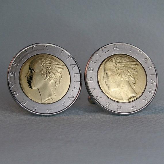 Vintage Bimetal Repubblica Italiana Lire Italy Italian 500 Lira Coin Pendant