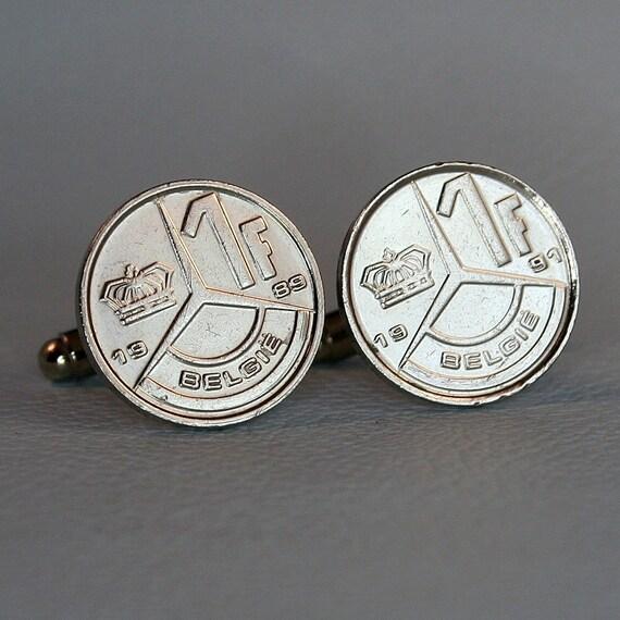 Frank Belgie Belgique Belgium Albert II Belgian 1 Franc Coin Cufflinks