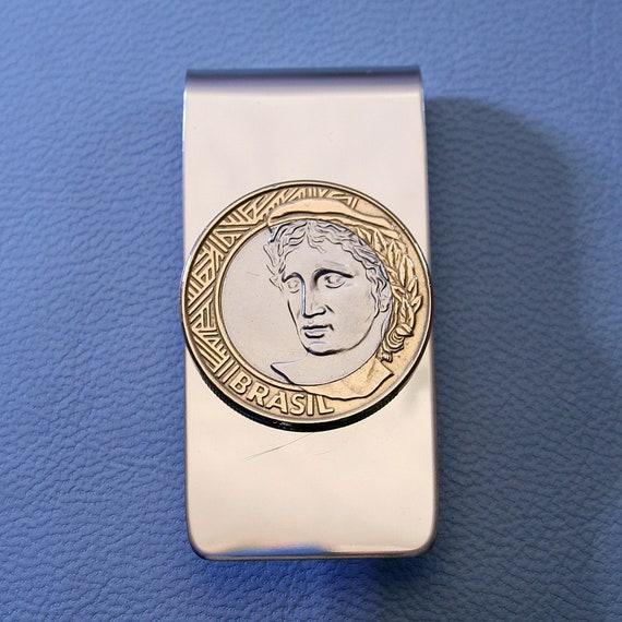 Rio de Janeiro Flag Gold-tone Cufflinks Money Clip Engraved Gift Set