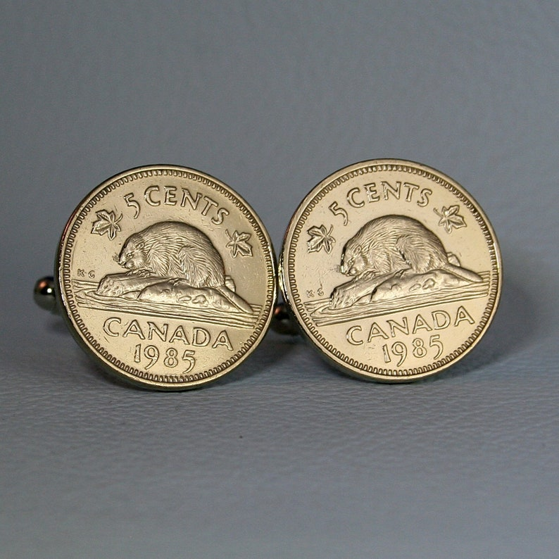 1985 Canada Beaver Coin Cufflinks - Canadian Nickel 5 Cents Silver Tone