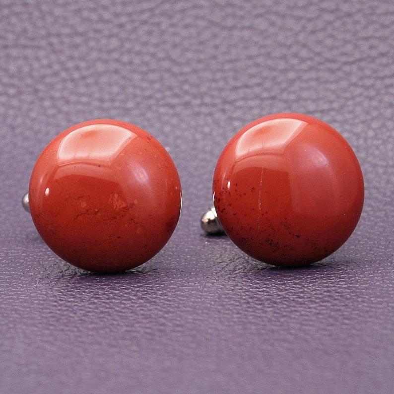 Round 20mm Red Jasper Gemstone Cufflinks