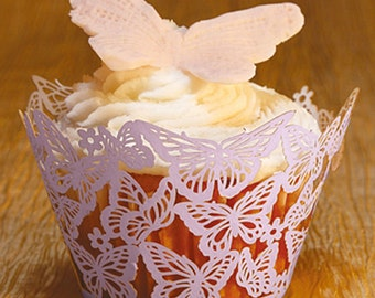 Free Shipping HOT SALE!! 24pcs Laser Cupcake Wrapper,  Classical Butterfly Cupcake Decoration, Color can be customized