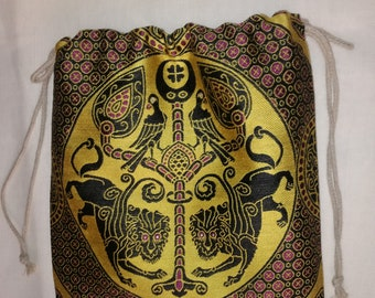 Purse for medieval re-enactment made in silk fabric