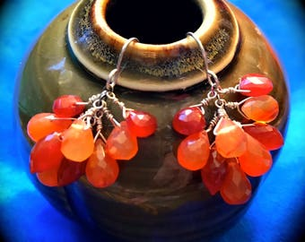 Clustered Carnelian Briolete Earrings