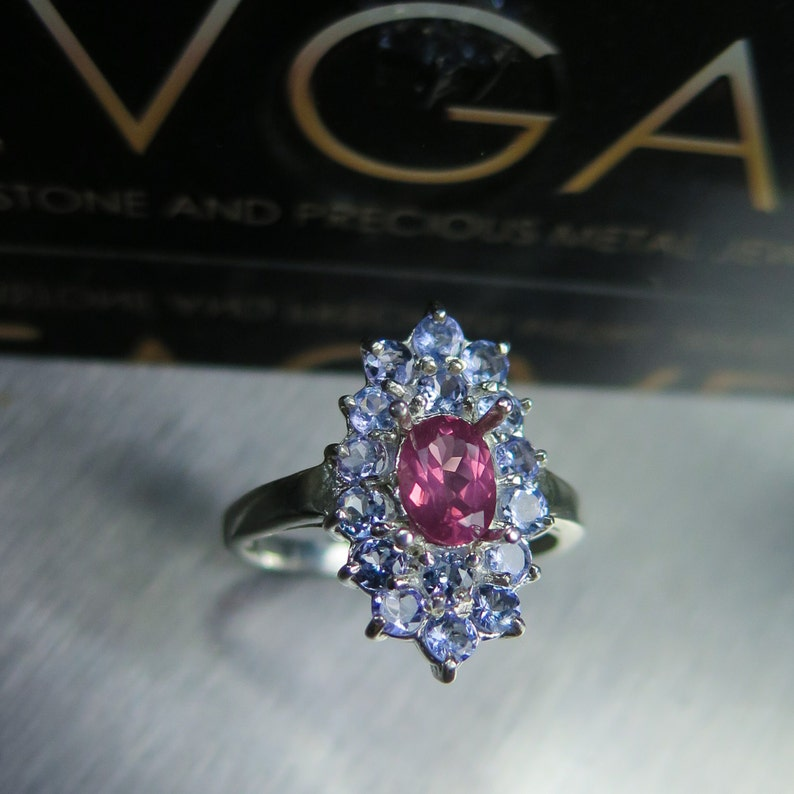 0.70cts Natural pink red spinel oval cut /& tanzanites 925 sterling silver engagement ring all sizes