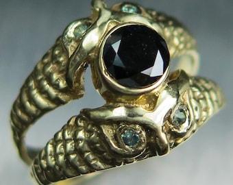 0.42ct Certified Natural Black diamond &alexandrite 925 Silver 9ct 14k 18k 22k yellow white rose Gold Platinum Palladium owl engagement ring