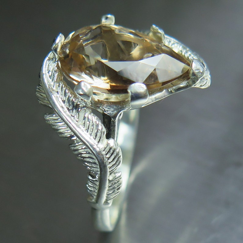 4.25cts Natural cream brown Imperial topaz pear cut Sterling 925 silver feather engagement ring all sizes