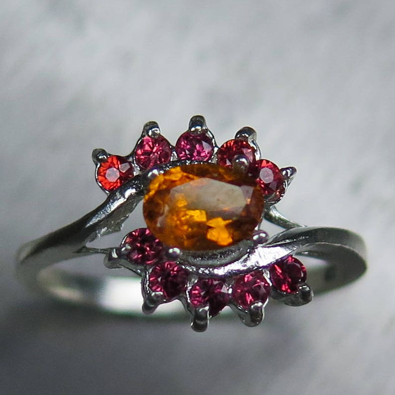 0.45cts Natural Rare Clinohumite /& red sapphires Sterling 925 Silver Gold 9ct 14k 18k white yellow rose engagement knot ring all sizes