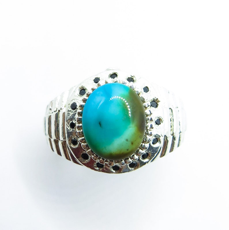3.9ct Natural Turquoise sleeping beauty /& Sapphire 925 Sterling Silver man/'s men/'s unisex ring all size