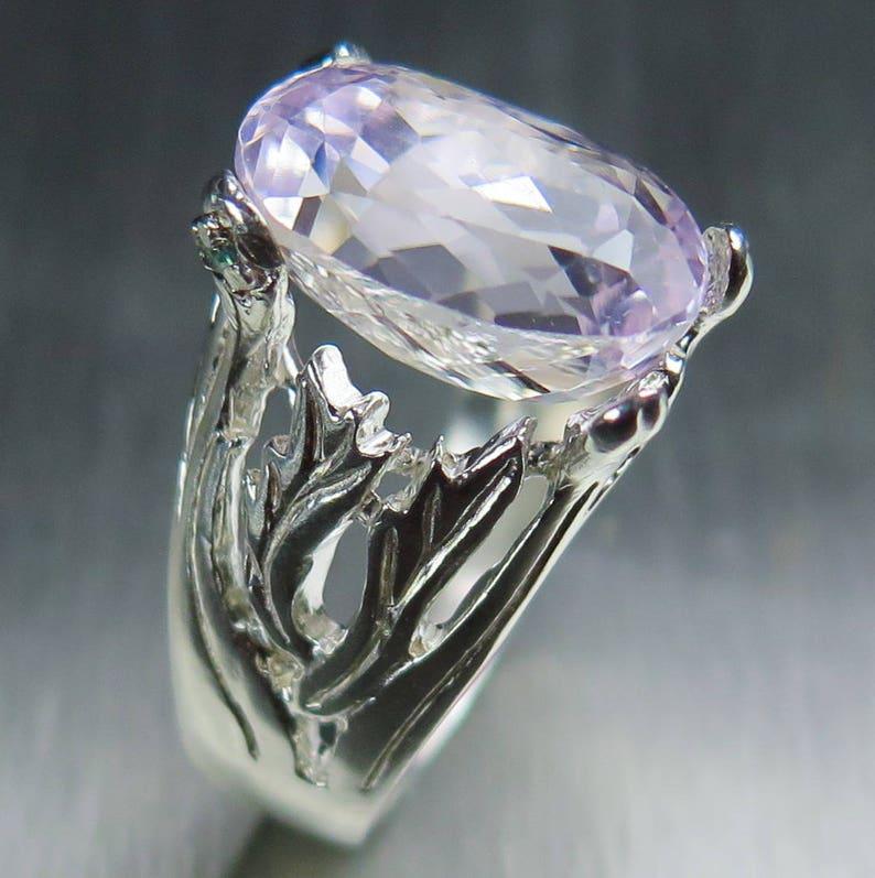 7.55ct Natural Light pink Kunzite 925 sterling Silver 9ct 14k 18k yellow white rose Gold Platinum Palladium engagement  ring all size