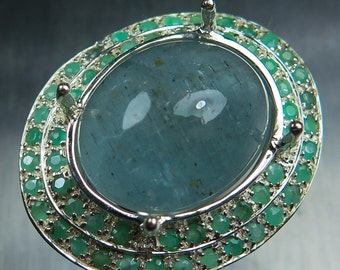18.85cts Natural aqua blue Aquamarine cats eye cabochon oval cut & emeralds Sterling .925 Silver ring all sizes