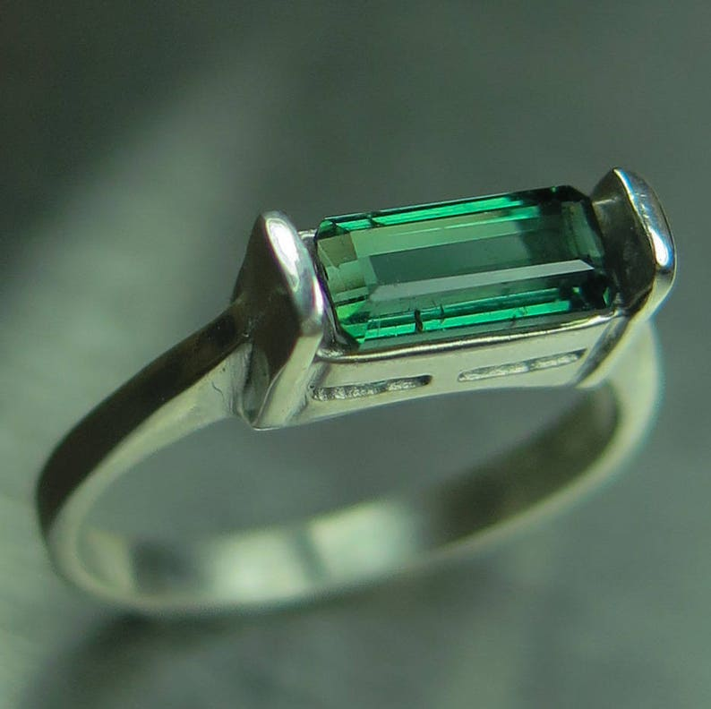 1.10ct Natural green with blue hint tourmaline east west 925 Sterling Silver  9ct 14k 18k yellow white rose red Gold unisex ring all sizes