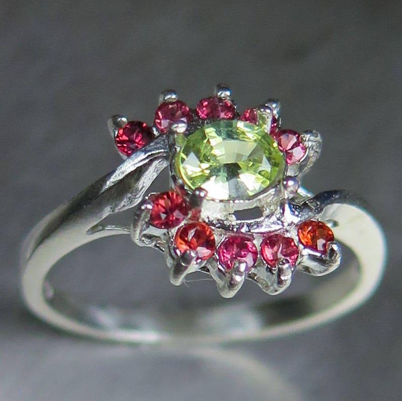 0.3ct Natural Chrysoberyl yellow /& red sapphire 925 Silver 9ct 14k 18k Yellow Red White Gold Platinum Palladium engagement ring all sizes