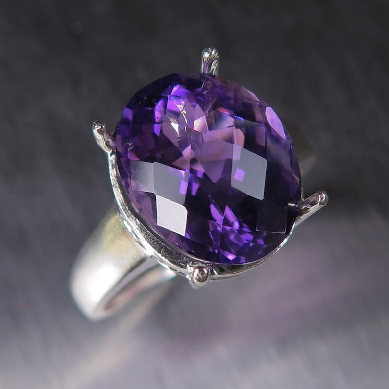 6.55cts Natural Brazilian Purple Amethyst Sterling 925 silver  9ct 14k 18k yellow white rose 375 585 750 gold ring all sizes