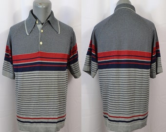 a66583c6 Vintage Sears Kings Road 1960s Polo Knit Shirt Mod Rockabilly Surf Beach  Striped Atomic Color Block Soft Gray Hipster Surfer Preppy Beatnik