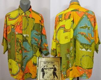 World Map Button Down Shirt.Vintage Burma Bibas Hawaiian Shirt All Over Print World Map Etsy