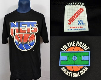 6ba77b8caf42 Vintage 1990 s In the Paint New Jersey Nets T-Shirt Basketball Gear Made in  USA Soft Thin See Through NBA Brooklyn Hip Hop Rap Jerzees Kidd